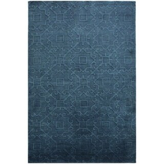 Edgard Coral Blue/Blue Wool Rug (5'0 x 8'0) - 5 ft. 0 in. x 8 ft. 0 in.
