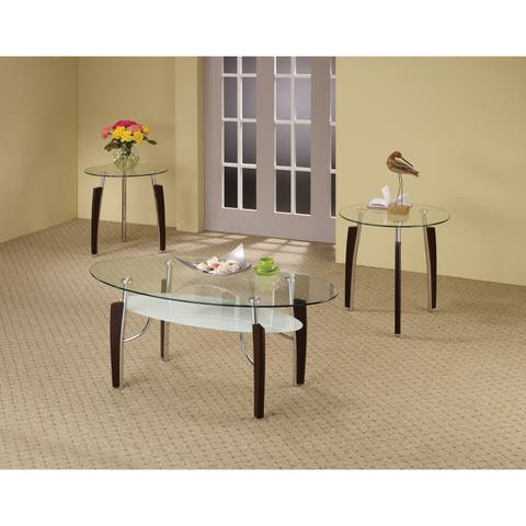 Contemporary Cappuccino 3-piece Round Table Occasional Living Room Set - N/A