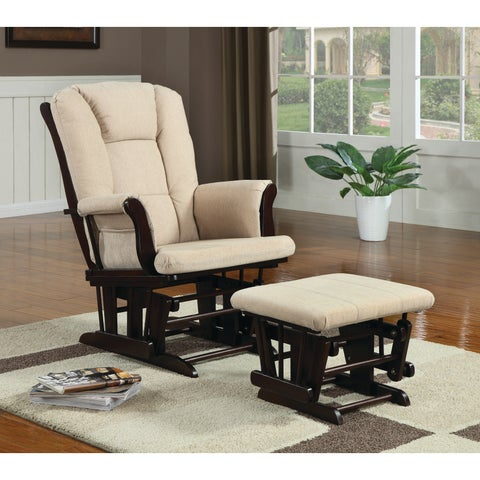 Traditional Beige 2-piece Rocking Glider and Ottoman Living Room Set