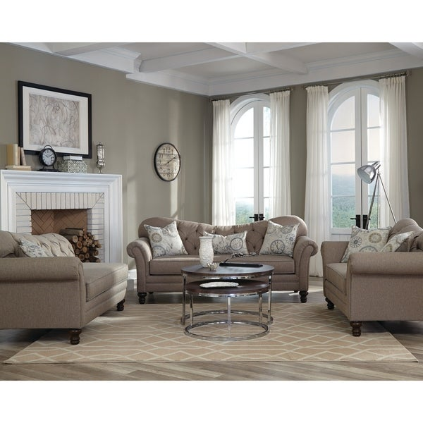 Shop Carnahan Traditional Brown 3-piece Living Room Set
