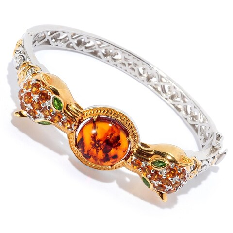 Michael Valitutti Palladium Silver Amber, Madeira Citrine and Chrome Diopside Panther Bangle