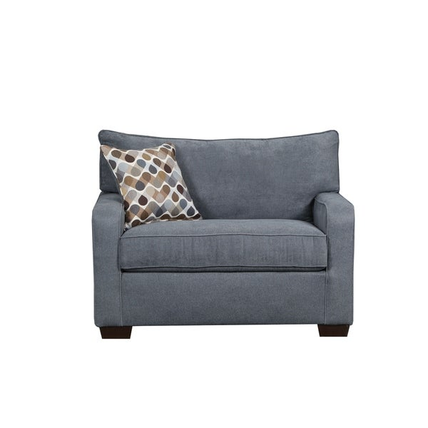 Shop Simmons Upholstery Mia Denim Chair And A Half Free