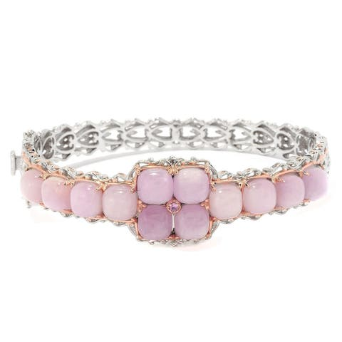 Gems en Vogue Palladium Silver Kunzite and Pink Sapphire Hinged Bangle Bracelet