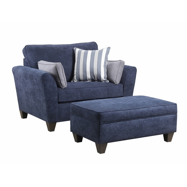 Shop Simmons Upholstery Prelude Navy Chair And A Half