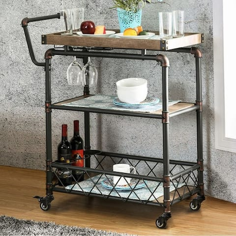 Keervan Industrial Wine Cabinet With Foldable Table, Antique Black