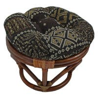 International Caravan Bali Papasan Foot Stool with Tapestry Cushion