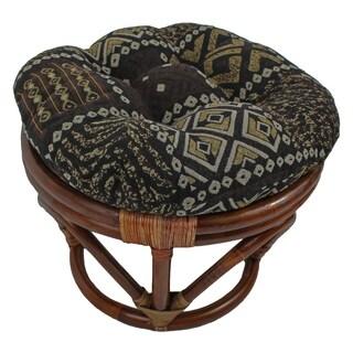 International Caravan Bali Papasan Foot Stool with Tapestry Cushion
