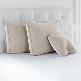 Joy Mangano S/3 Cool Side, Warm Side, Memory Foam Pillows Linen Driftwood