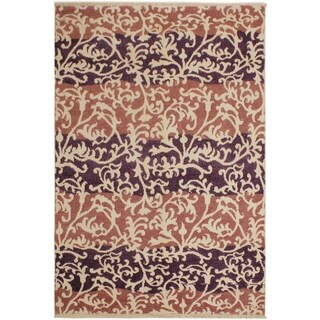 Niamh Modern Lanette Purple/Lt.red Wool Area Rug - 5 ft. 2 in. x 7 ft. 4 in.