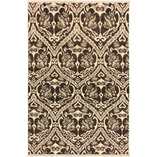 Nabila Modern Gidget Charcoal/Ivory Wool Area Rug (4'3 x 6'2) - 4 ft. 3 in. x 6 ft. 2 in.