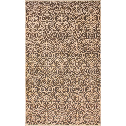 Cryena Modern Kymberly Charcoal/Brown Wool Area Rug (5'2 x 7'6) - 5 ft. 2 in. x 7 ft. 6 in. - 5 ft. 2 in. x 7 ft. 6 in.