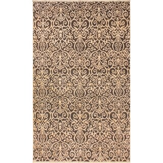 Cryena Modern Kymberly Charcoal/Brown Wool Area Rug (5'2 x 7'6) - 5 ft. 2 in. x 7 ft. 6 in.