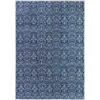 Cryena Modern Jene Blue/Ivory Wool Area Rug - 9 ft. 0 in. x 12 ft. 3 in.