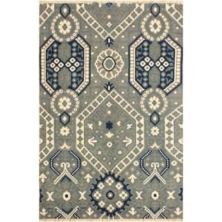 Ezyln Modern Arletha Gray/Ivory Wool Area Rug (4'1 x 6'6) - 4 ft. 1 in. x 6 ft. 6 in.