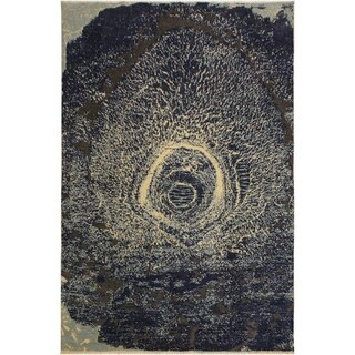 Modern Abstract Galaxy Leigha Blue/Ivory Area Rug (8'0 x 10'5) - 8 ft. 0 in. x 10 ft. 5 in.