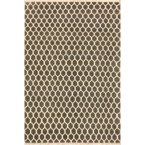 Ailsa Modern Valrie Gray/Ivory Wool&Silk Rug (4'1 x 6'5) - 4 ft. 1 in. x 6 ft. 5 in. - 4 ft. 1 in. x 6 ft. 5 in.