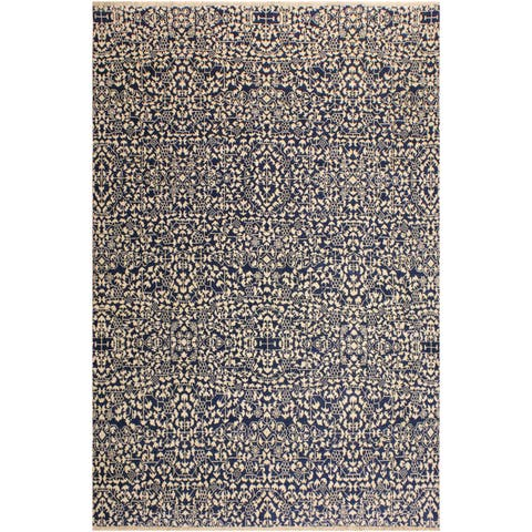 Ellie Modern Ghislain Blue/Ivory Wool Area Rug (8'1 x 10'0) - 8 ft. 1 in. x 10 ft. 0 in.