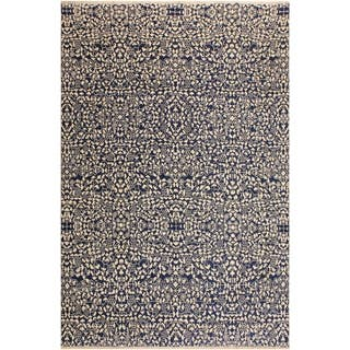 Ellie Modern Ghislain Blue/Ivory Wool Area Rug (8'1 x 10'0) - 8 ft. 1 in. x 10 ft. 0 in.