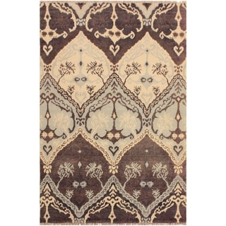 Nabila Modern Meda Brown/Ivory Wool Area Rug (4'0 x 6'0) - 4 ft. 0 in. x 6 ft. 0 in.