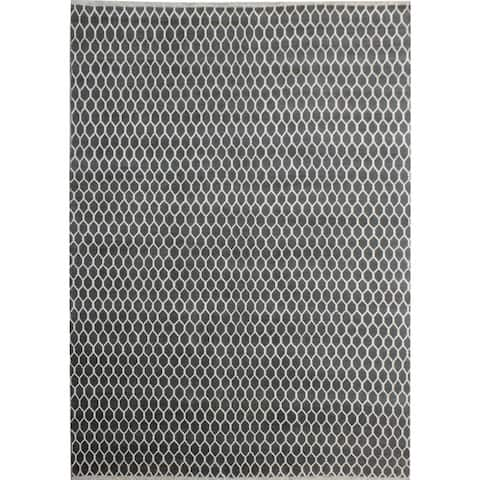 Ailsa Modern Suzanne Gray/Ivory Wool&Silk Rug (8'3 x 9'6) - 8 ft. 3 in. x 9 ft. 6 in.