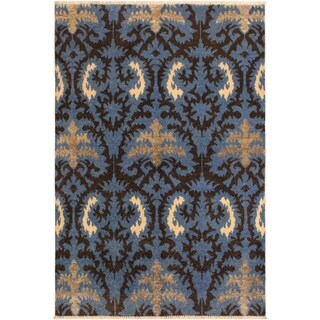 Cianna Modern Leia Lt. Blue/Charcoal Wool Area Rug - 4 ft. 1 in. x 5 ft. 8 in.