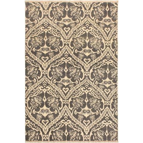 Nabila Modern Ardell Gray/Ivory Wool Area Rug (4'1 x 6'1) - 4 ft. 1 in. x 6 ft. 1 in. - 4 ft. 1 in. x 6 ft. 1 in.
