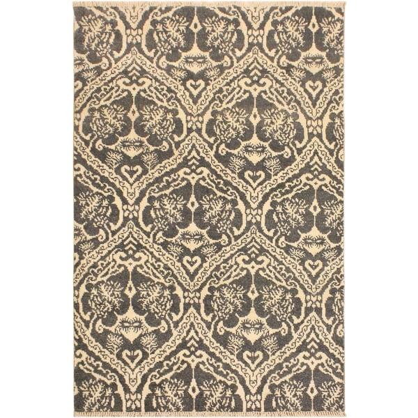 Nabila Modern Ardell Gray/Ivory Wool Area Rug (4'1 x 6'1) - 4 ft. 1 in. x 6 ft. 1 in.