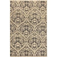 Nabila Modern Ardell Gray/Ivory Wool Area Rug (4'1 x 6'1) - 4 ft. 1 in. x 6 ft. 1 in.