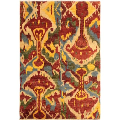 Modern Ikat Sung Red/Ivory Wool Area Rug (5'1 x 8'1) - 5 ft. 1 in. x 8 ft. 1 in. - 5 ft. 1 in. x 8 ft. 1 in.