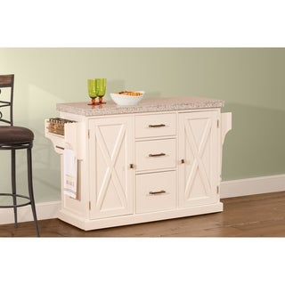 Hillsdale Brigham Kitchen Island in White with Granite Top