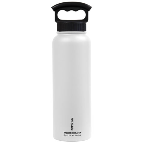 40 oz. Vacuum-Insulated Bottle with Wide-Mouth 3-Finger Handle Lid in Winter White
