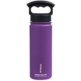 18 oz. Vacuum-Insulated Bottle with Wide-Mouth 3-Finger Handle Lid in Royal Purple