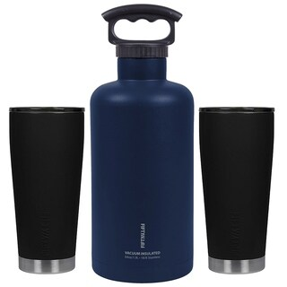 Ultimate Outdoor Insulated Beer Growler Bundle, Black and Navy Blue