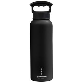 40 oz. Vacuum-Insulated Bottle with Wide-Mouth 3-Finger Handle Lid in Matte Black