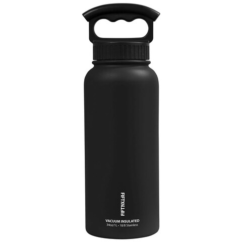 34 oz. Vacuum-Insulated Bottle with Wide-Mouth 3-Finger Handle Lid in Winter White