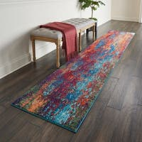 "Nourison Celestial Atlantic Blue and Red Abstract Runner Rug - 2'2"" x 10' Runner"