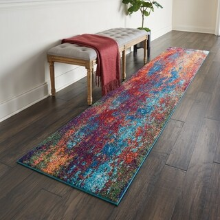 """Nourison Celestial Atlantic Blue and Red Abstract Runner Rug - 2'2"""" x 10'"""