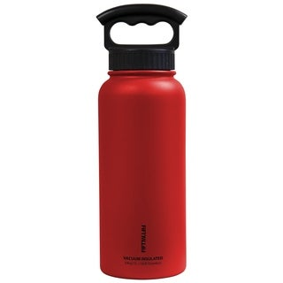 34 oz. Vacuum-Insulated Bottle with Wide-Mouth 3-Finger Handle Lid in Cherry Red