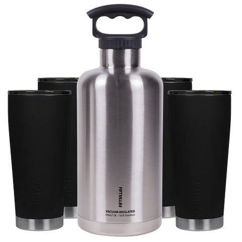 Premium Outdoor Insulated Beer Growler Bundle, Black and Stainless Steel