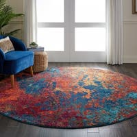 Nourison Celestial Atlantic Blue and Red Abstract Round Rug - 7'10