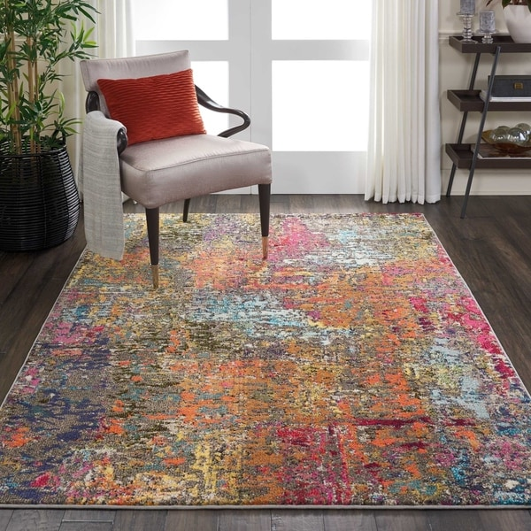 "Nourison Celestial Abstract Multicolor/Orange Area Rug - 5'3"" x 7'3"""