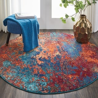 Nourison Celestial Atlantic Abstract Round Rug - 5'3 x 5'3