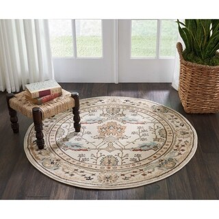 "Nourison Walden Traditional Floral Ivory Round Rug - 3'9"" x 3'9"""