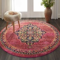 """Nourison Passionate Pink Flame Medallion Round Rug - 5'3"""" Round"""