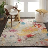"Nourison Celestial Abstract Ivory/Multicolor Rug - 5'3"" x 7'3"""