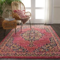 Nourison Passionate Pink Flame Medallion Area Rug - 5' 3 x 7' 3