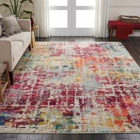 "Nourison Celestial Abstract Pink/Multicolor Rug - 7'10"" x 10'6"""