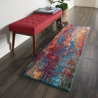 Nourison Celestial Atlantic Blue and Red Abstract Runner Rug - 2' x 6' Runner