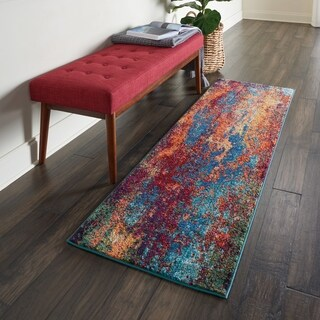 Nourison Celestial Atlantic Blue and Red Abstract Runner Rug - 2'x6'