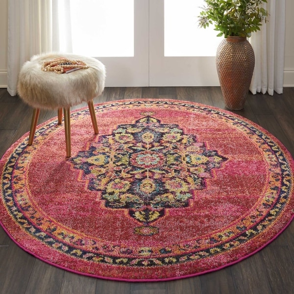 Shop Nourison Passionate Pink Flame Medallion Round Rug